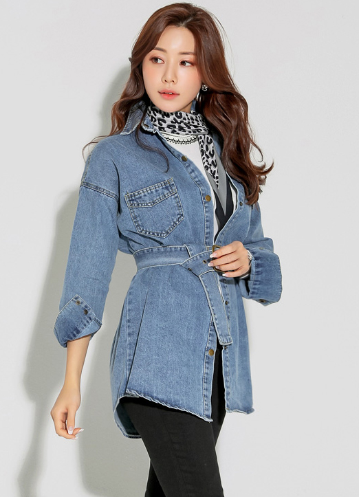 Loose Fit Belted Denim Collared Shirt, 스타일온미