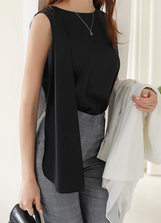 Scarf Drape Detail Sleeveless Blouse, 스타일온미