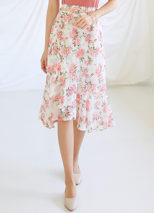 Pastel Rose Print Wrap Flared Skirt, 스타일온미