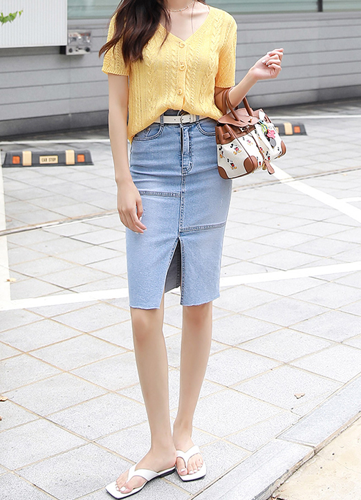 Front Slit High Waisted Denim Skirt, 스타일온미