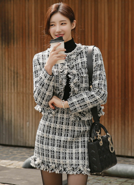 Elegant Tweed Skirt and Jacket Set, 스타일온미