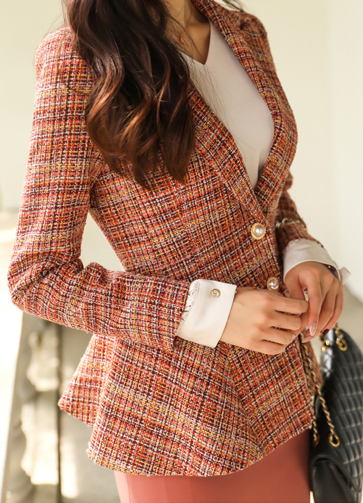 Tailored Tweed Jacket with Pearl Buttons, 스타일온미