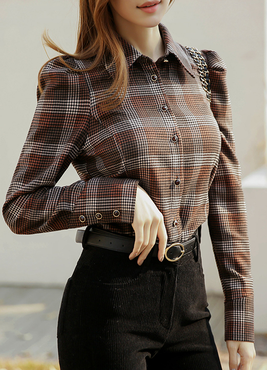 Puff Sleeve Gem Button Check Shirt, 스타일온미