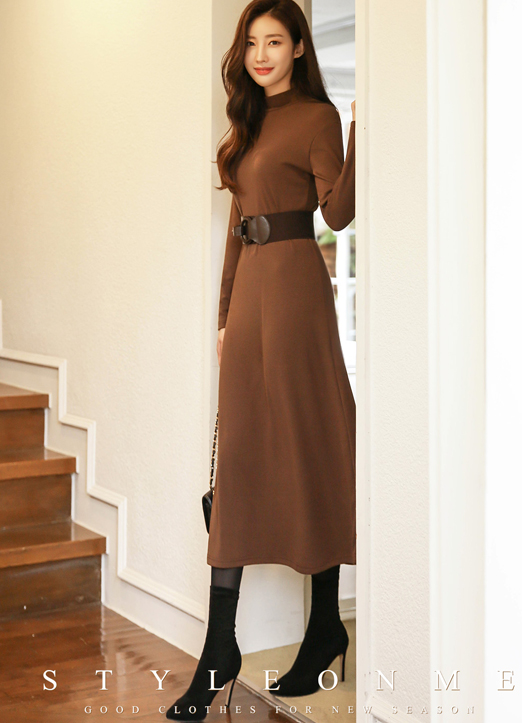 Mock Neck Fleece-lined Long Flared Dress, 스타일온미