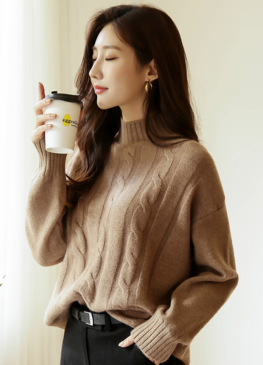 Perfect Cable Knit Mock Neck Jumper, 스타일온미