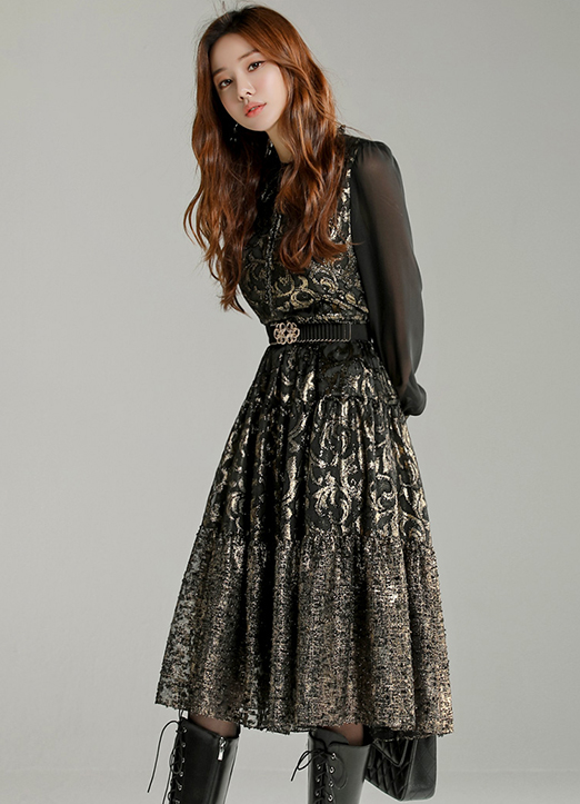 Ethnic Mood Gold Jacquard Flared Dress, 스타일온미