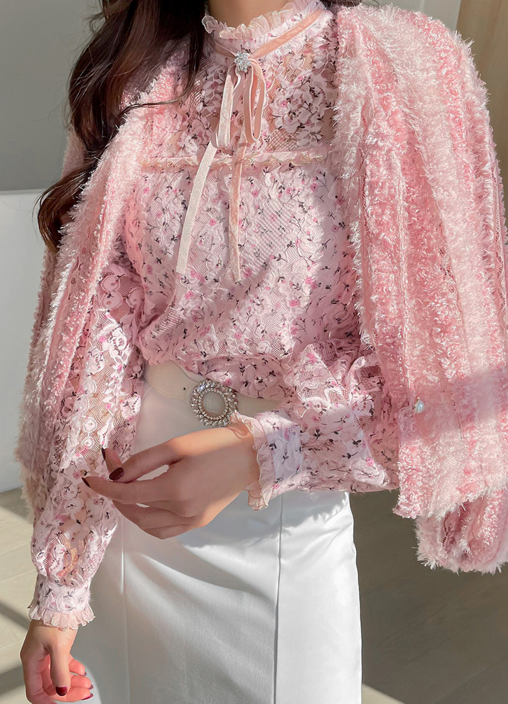 Floral Pattern Frill Lace Blouse, 스타일온미