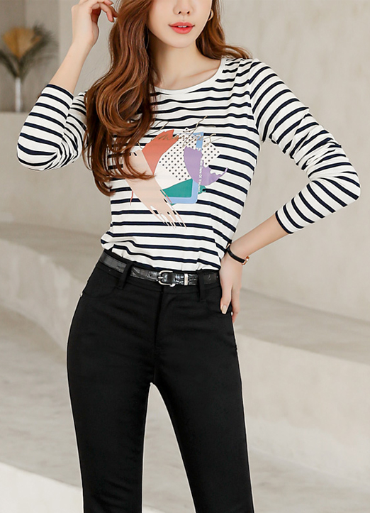 Painted Stripe Print Long Sleeves Top, 스타일온미