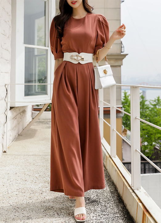 Dressy Puff Shoulder Pintuck Jumpsuit, 스타일온미