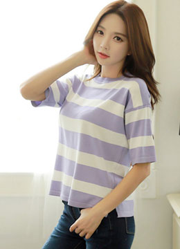 Striped Half Sleeve Knit Top, Styleonme