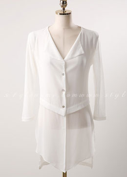 Chiffon Detail Long Cardigan, Styleonme