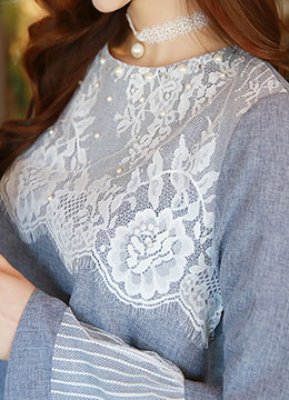 Floral Lace Detail Bell Sleeve Blouse, Styleonme