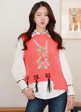 Flower Embroidered Uneven Hem Knit Vest, Styleonme