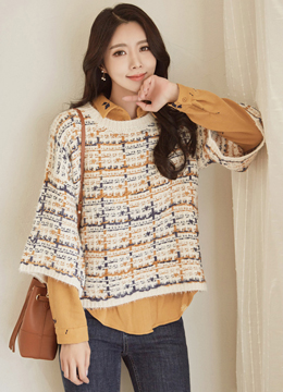 Color Mix Tweed Knit Sweater, Styleonme