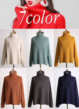 Soft Turtleneck Ribbed Knit Sweater, Styleonme