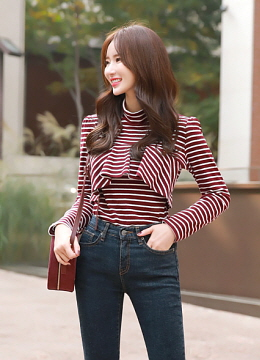 Stripe Ruffle Mock Neck T-shirt, Styleonme