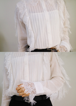 Pintuck Lace Detail Cotton Blouse, Styleonme