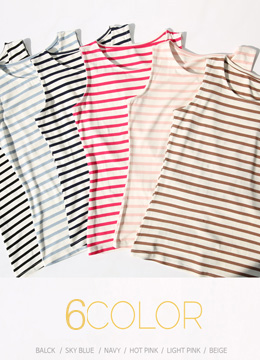 6Colors Stripe Sleeveless Tee, Styleonme