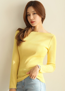 (1+1) 11Colors Boat Neck Knit Tee, Styleonme