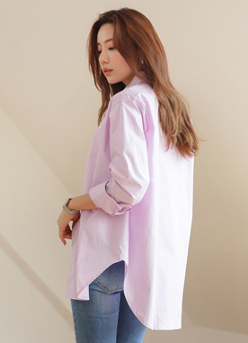 Soft Color Loose Fit Collared Shirt, Styleonme