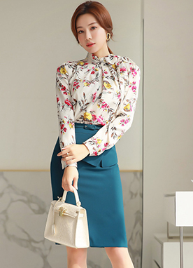 Floral Print Ribbon Tie Blouse, Styleonme
