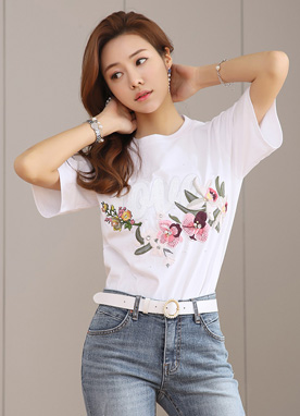 LOVE Sequined Floral Embroidered Tee, Styleonme