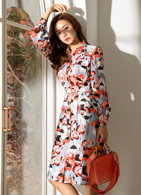 Floral Print Puff Sleeve Shirt Dress, Styleonme