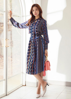 Color Lettering Patterned Dress, Styleonme
