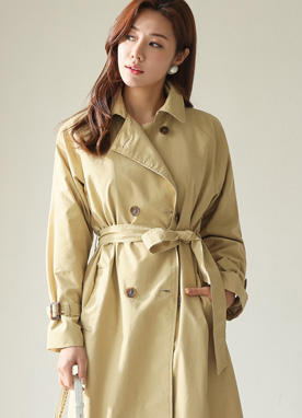 Double-Breasted Tie Belt Trench Coat, Styleonme
