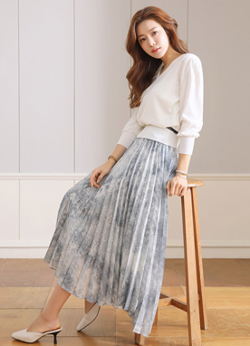 Watercolor Print Asymmetrical Pleated Long Skirt, Styleonme