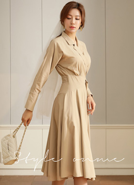 Shirred Wrap Collared Dress, Styleonme