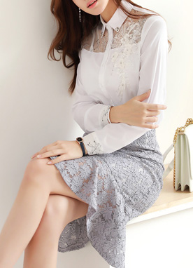 Cubic Flower Motif Collared Shirt, Styleonme