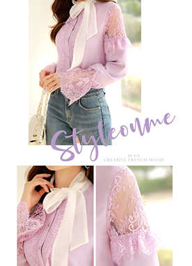 See-through Lace Detail Ribbon Blouse, Styleonme