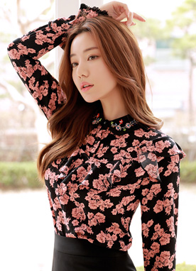 Floral Print Beaded Collar Bell Sleeve Blouse, Styleonme