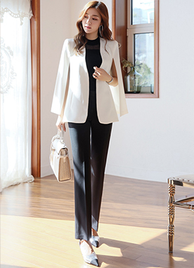 Collarless Cape Jacket, Styleonme