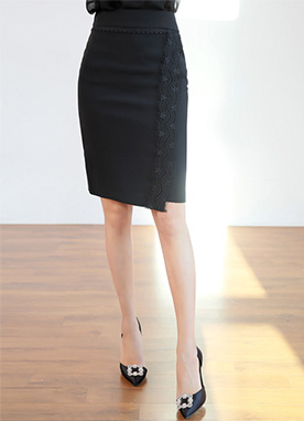 Lace Detail H-Line Skirt, Styleonme