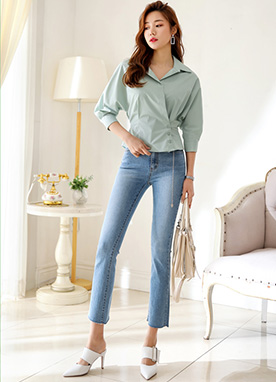 Dolman Sleeve Wrap Collared Blouse, Styleonme