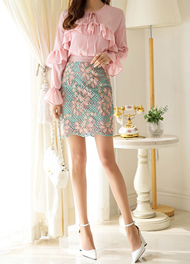 Cherry Blossom Embroidered H-Line Skirt, Styleonme