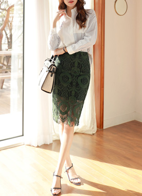 Luxury Lace H-Line Skirt, Styleonme