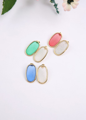 Oval Color Earrings, Styleonme