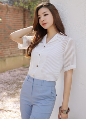See-through Pinstripe Collared Blouse, Styleonme