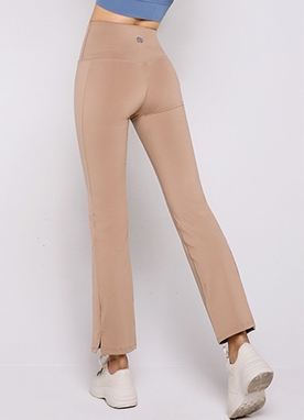 Soft Side Slit Boot-Cut Yoga Pants, Styleonme