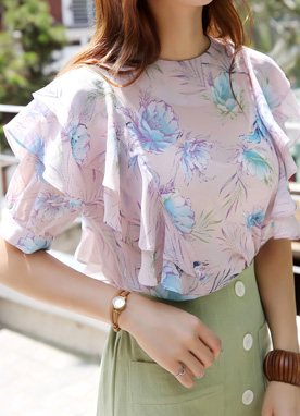 Floral Print Frill Sleeve Blouse, Styleonme