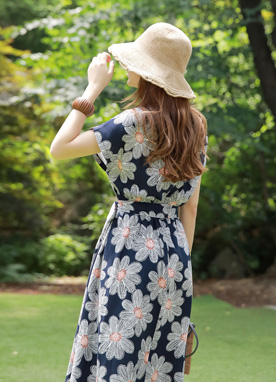 Large Floral Print Flared Dress, Styleonme