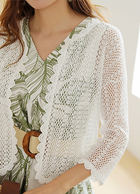 Crochet Lace Scallop Trim Cardigan, Styleonme