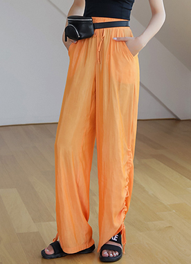 Ruched Wide Leg Pants, Styleonme