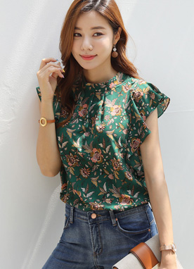 Paisley Floral Print Ruffle Blouse, Styleonme