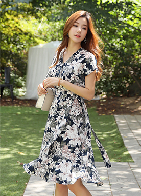 Floral Print Belt Strap Wrap Dress, Styleonme