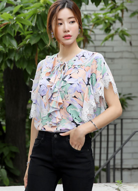 Lace Trim Floral Print Frill Blouse, Styleonme