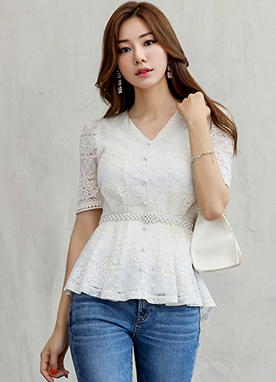 Floral Lace Peplum Blouse, Styleonme